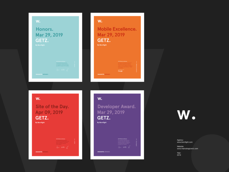 GETZ — Awwwards honors developer mobileexcellence siteoftheday award interaction website awwwards