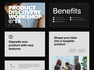 Product Discovery Workshop workshop discovery modern ui simple clean minimal grid design company presentation deck layout typography