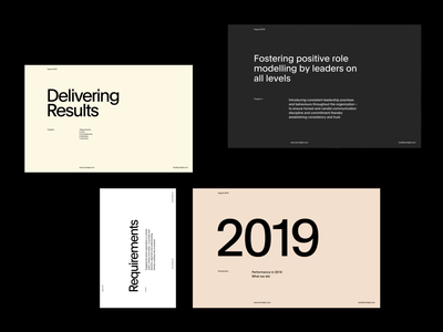 Delivering Results Internal Presentation typo modern simple whitespace grid design minimal clean layout typography