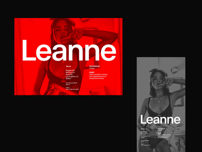 Leanne typo modern simple header whitespace web grid design website minimal clean layout typography