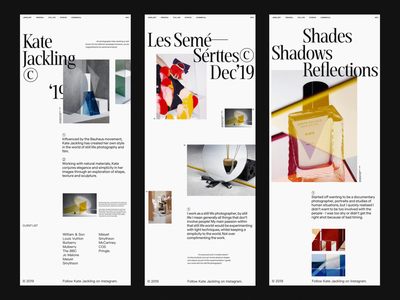 Kate Jackling Portfolio header web whitespace grid design minimal website clean layout typography