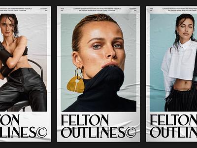 FELTON  OUTLINES© modern logo editorial photography layout fashion magazine branding typography