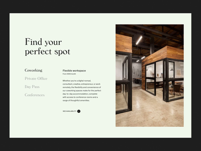 Coworking & Shared Space in US whitespace layout typography coworking space website design service website coworking