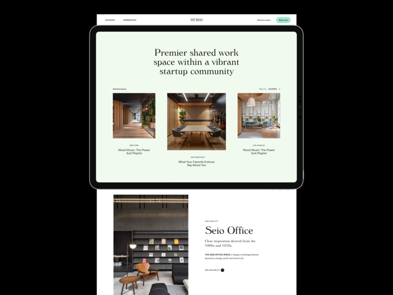 HUB60 — Coworking & Shared Space in US grid whitespace minimal typography website design layout design service website
