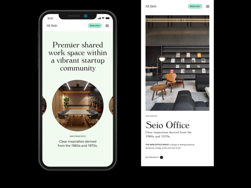 HUB60 — Mobile views whitespace minimal layout typography responsive website responsive mobile service design