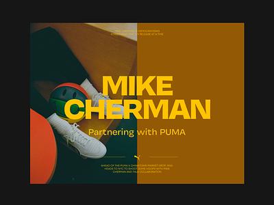 Mike Cherman X Puma simple header web whitespace grid design minimal website layout typography
