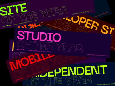 Awwwards Annual Awards 2019—Category Color Coding typo visual identity brading color typography