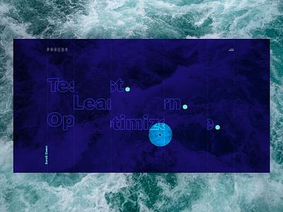 Test Learn Optimize ocean homepage home page digital lines redesign blue ui website website design art site design web