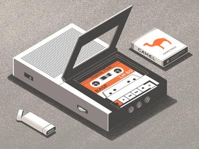 Old cassette player isometric 3d radio vintage 80s player lighter camel cigarettes cassette retro illustration