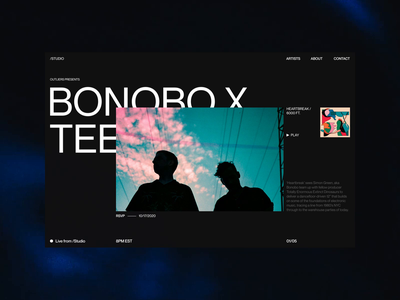 Record Label / Artist Showcase Exploration showcase homepage video background dark ui dark web design web pangrampangram motion interaction art direction animation photography design visual design ui concept