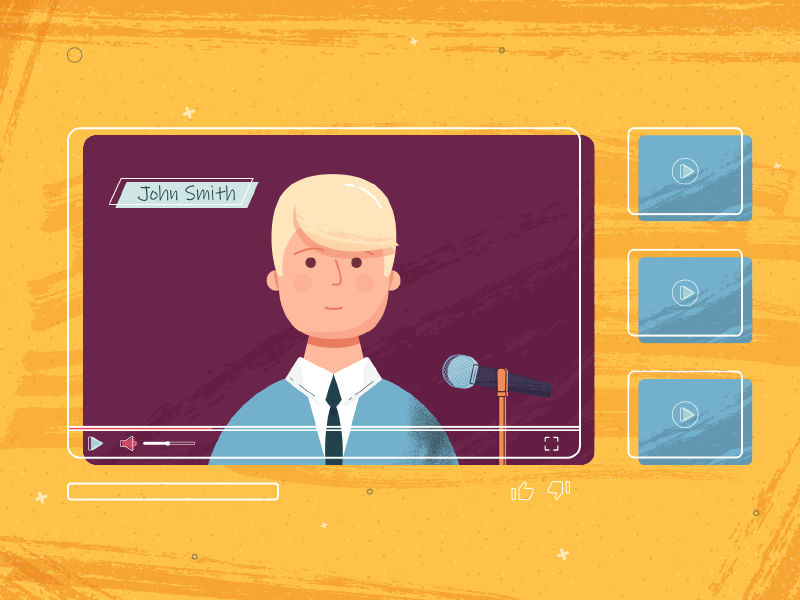 Youtube videoplayer startup youtube mediaplayer illustrator illustration flat character design