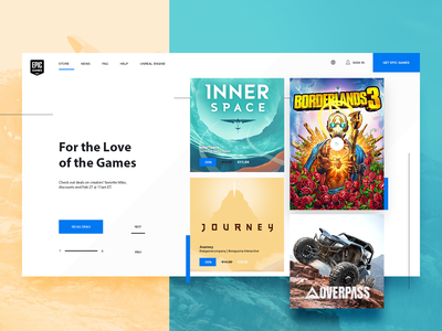 Epic Games Store - minimal widget epic games steam library website web ecommerce store pc games game widget modern clean ui design ui ux