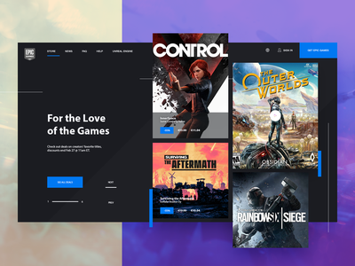 Epic Games Store - minimal widget dark steam epic games game product app widget ecommerce website clean flat ux ui