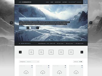 Ice Commerce ui ux ecommerce theme products ice blue dark slider product flat design