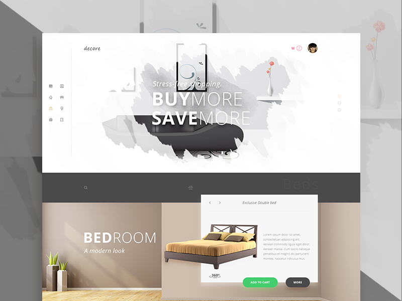 Decore Furniture store bed ecommerce design website furniture ux ui