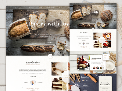 The Bakery Website - Free PSD wood web download website ux ui psd freebie free food button bakery