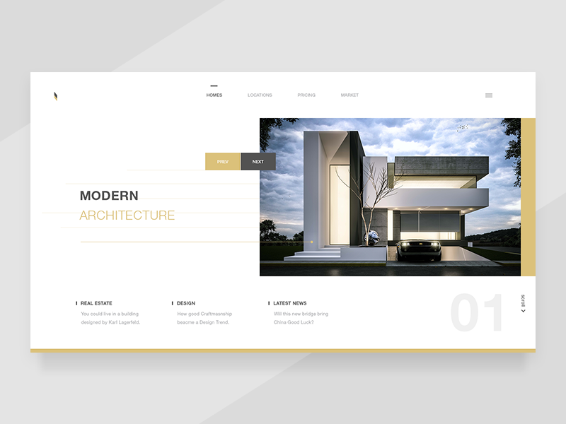 Modern Architectures real estate website landing ui ux homepage design architecture