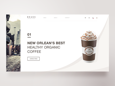 BEANS — Fresh Organic Coffee web design webdesign typography organic new orleans layout coffee designer concept