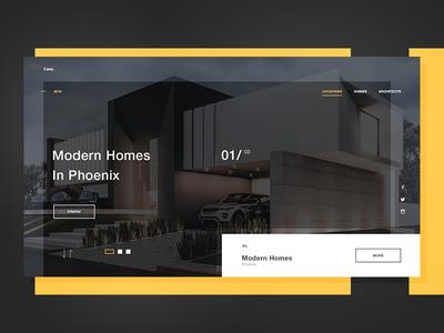Casa - Architecture Firm Concept studio design hero web modern home house clean architectural design architechture architect