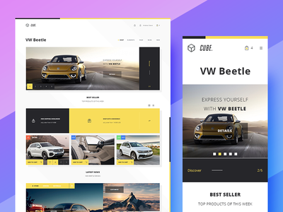 Cube Commerce - Freebie landingpage store shop photoshop psd ui ux template theme design ecommerce mobile freebies free