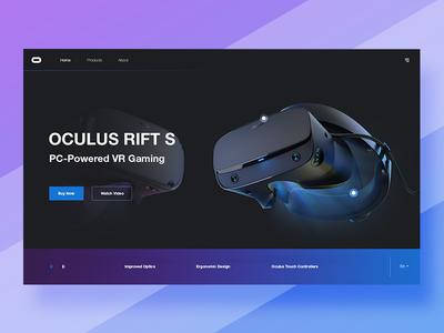 Oculus Rift S - concept landing page hero webdesign web widget design ux ui  ux oculus rift oculus virtual reality vr