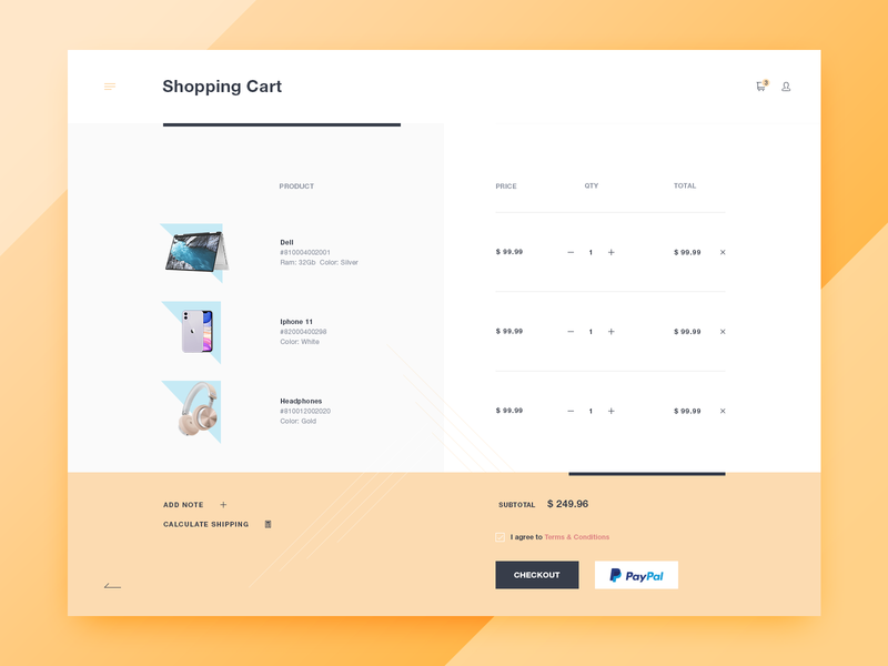 Shopping Cart Page product shopping shop checkout widget theme ecommerce web website design clean flat ux ui