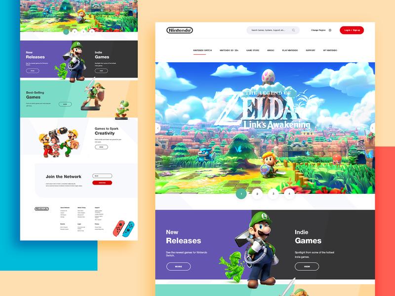 Nintendo Website Concept gaming template layouts ui design uiux website concept website design webdesign web product design website switch nintendo redesign