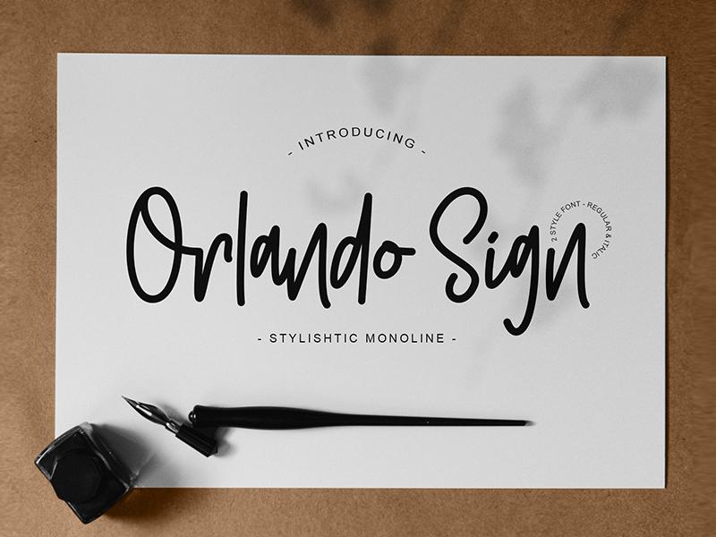 Orlando Sign | Stylishtic Monoline signature font modern letters logo branding lettering calligraphy monoline