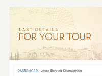 Last Details for Your Tour