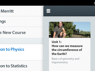 Physics ipad ios menu