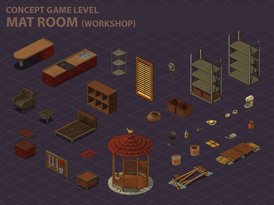 MatRoom(objects) gameobject object lavel icons sketch game illustrations 2d art