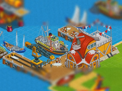 Port objects port island lavel game illustrations 2d art