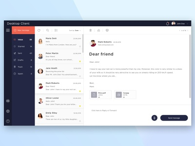 Mail agent design web app ux ui minimal flat design mail app email design application agent client mail