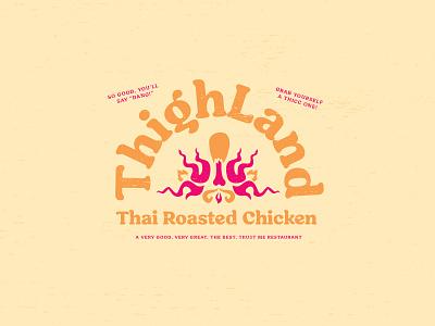 Thighland - Restaurant Logo fake fire identity logo orange pink chicken thigh