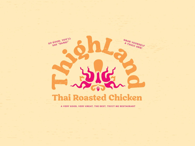 Thighland - Restaurant Logo fake fire identity logo orange pink chicken thigh