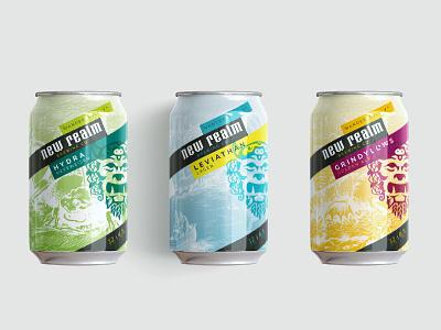 New Realm Brewing Packaging Exploration #REJECTED branding design mythology radegost illustration scratchboard colors package design beer packaging craft brewery branding craft beer branding