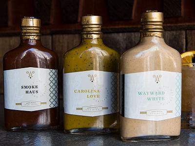 Wayward Smokehouse BBQ Sauce Packaging food packaging restaurant branding design package design packaging