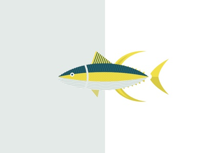 Yellowfin Tuna / Hamachi Illustration teal yellow blue logo illustration logo design fish logo hamachi fish