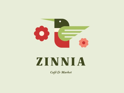 Zinnia - Café & Market - Identity Design restaurant market cafe serif shapes geometric floral flower bird humminbird forest green red green insignia monogram icon identity logo design logo