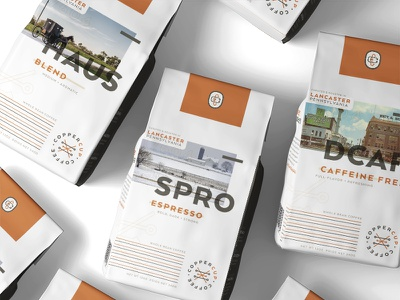 CopperCup Coffee Co - Packaging Exploration pennsylvania lancaster packaging mockup packaging design copper coffee bar coffee bag cafe coffee packagedesign package mockup packaging typography branding package design