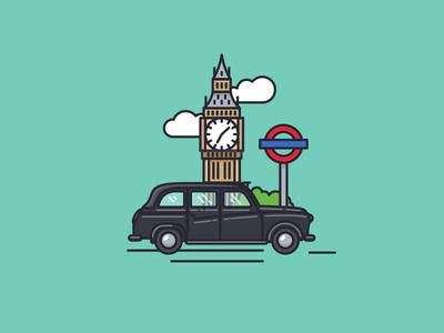 London Town buildings outline illustration nudds transport underground clouds taxi black cab big ben london