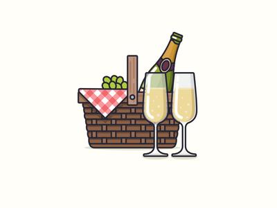 Picnic glasses bottle wine lunch basket nudds champagne illustration picnic