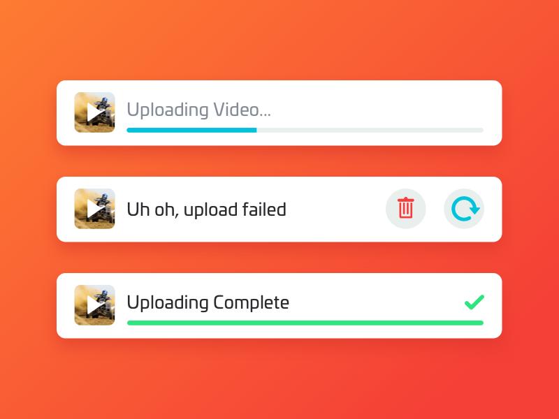 Uploading delete trash done video error failed retry success complete uploading upload nudds