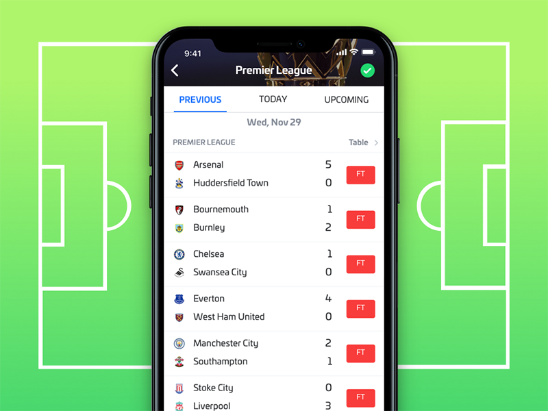 Scores Page game soccer tabs premier league listing app sport football scores nudds