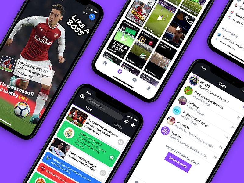 App Update! news list videos feed camera scores live chats bottom nav football sport nudds