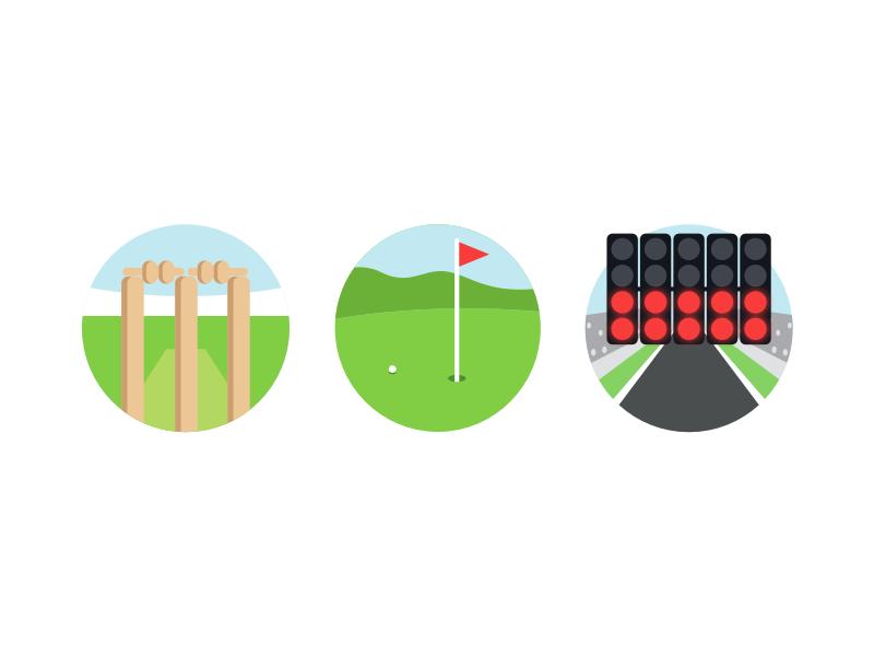 Empty State Illustrations icons race stadium state empty sport illustration formula 1 cricket golf nudds