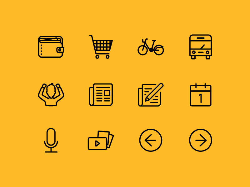 Icon Pack microphone media calendar news cheering bus bike transport cart wallet nudds