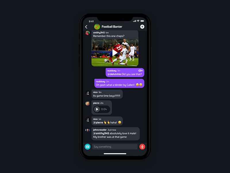 Chat App Dark camera conversation record audio dark theme sport chat nudds