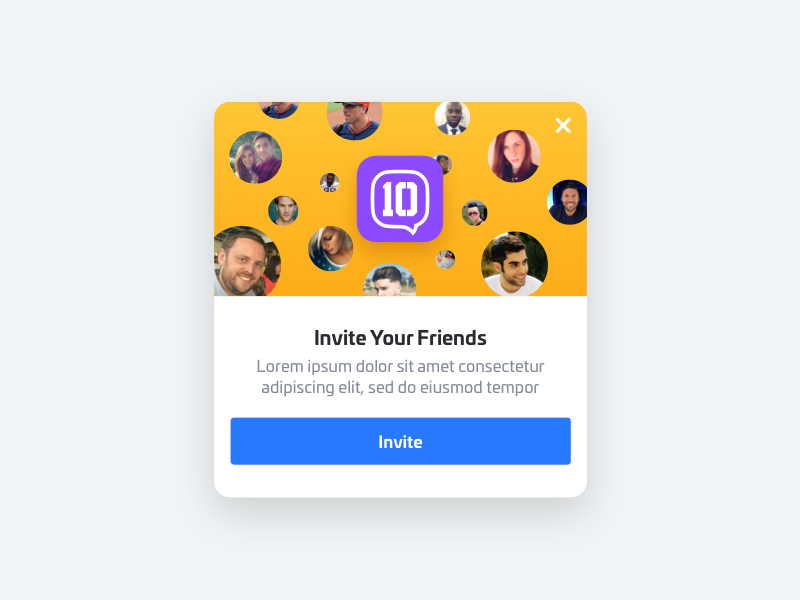 Invite Modal invitation avatars share pop up friends overlay modal invite nudds
