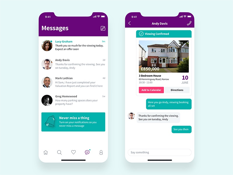 Messages event confirmation booking iphone x notification property real estate list chat messages nudds